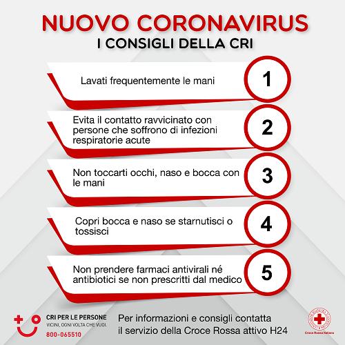 CORONAVIRUS: I CONSIGLI DELLA CRI